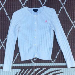 Ralph Lauren Girls Classic Cardigan White XL
